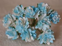 TURQUOISE WHITE ASTER Daisy (1.3 cm) Mulberry Paper Flowers